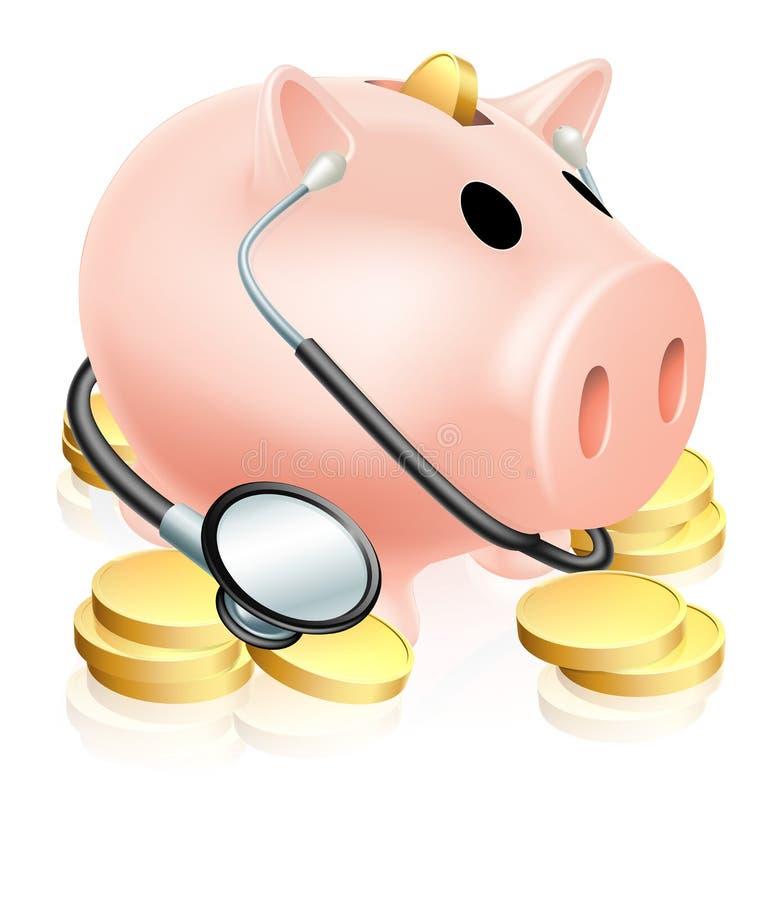 Concetto medico del porcellino salvadanaio illustrazione di stock