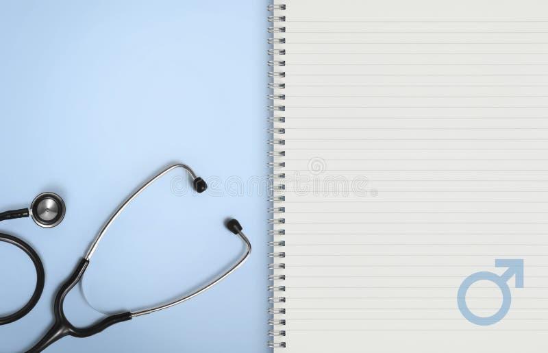 Concetto medico dell'uomo, pagine di carta del taccuino con lo stetoscopio sul simbolo maschio e del blu di genere dell'icona, sp fotografia stock