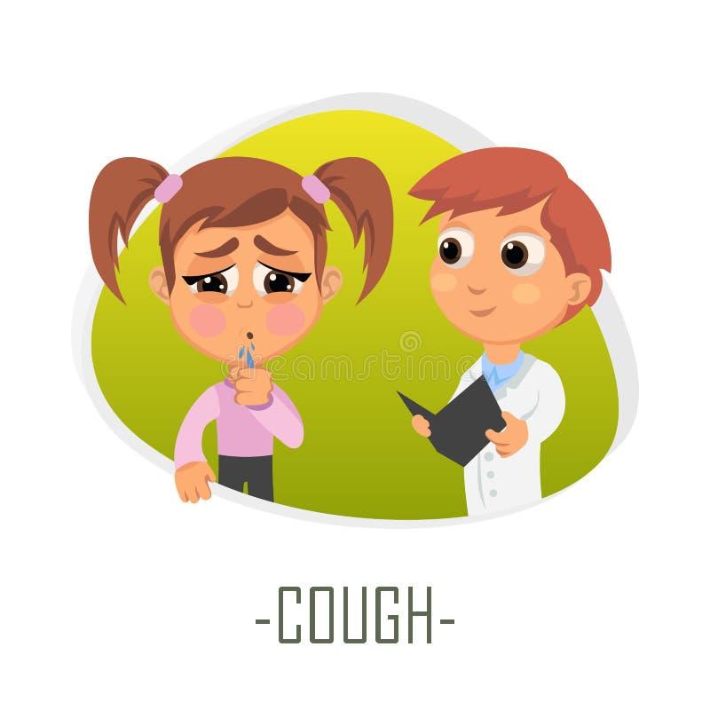 Concetto medico di tosse Illustrazione di vettore illustrazione di stock