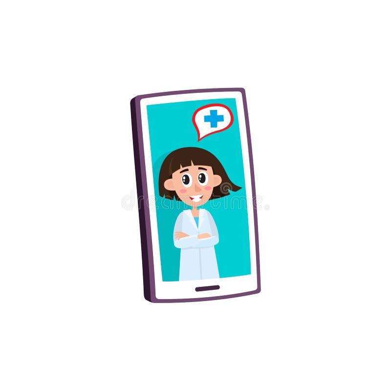 Concetto medico a distanza di assistenza con medico femminile che consiglia paziente sul video sullo smartphone royalty illustrazione gratis