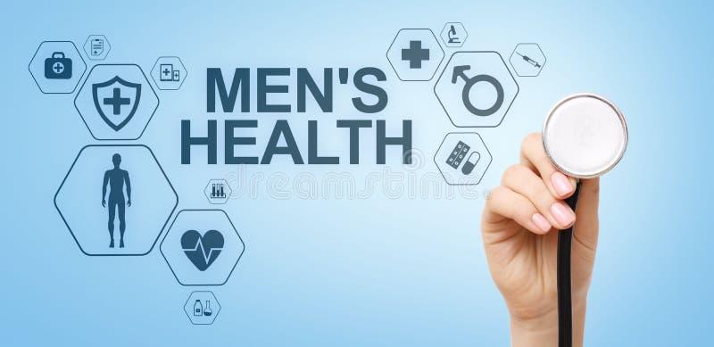 Concetto medico e di sanit? dell'insegna, della salute degli uomini sullo schermo Medico con lo stetoscopio fotografia stock