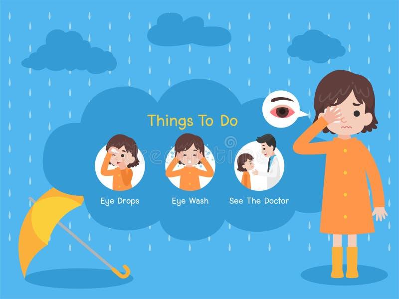 Concetto medico malato di sanità della pioggia illustrazione di stock