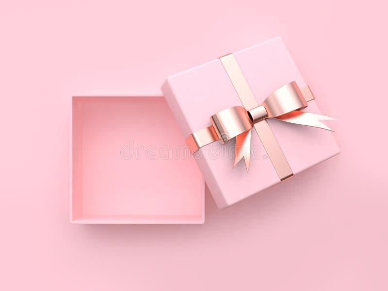 Concetto metallico aperto quadrato rosa 3d del biglietto di S. Valentino del arco-nastro del contenitore di regalo rendere illustrazione di stock