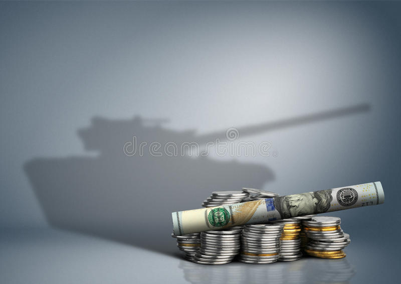 Concetto militare del bilancio, soldi con l'ombra dell'arma immagini stock