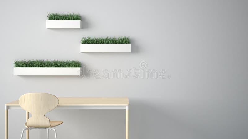 Concetto minimalista del progettista dell'architetto, scrittorio e sedia della tavola, cucina o ufficio con gli scaffali con i va royalty illustrazione gratis