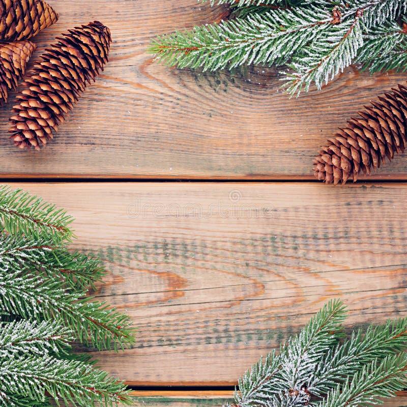 Concetto minimo di Natale Ramoscelli attillati sulle plance di legno Fondo di vacanze invernali immagine stock