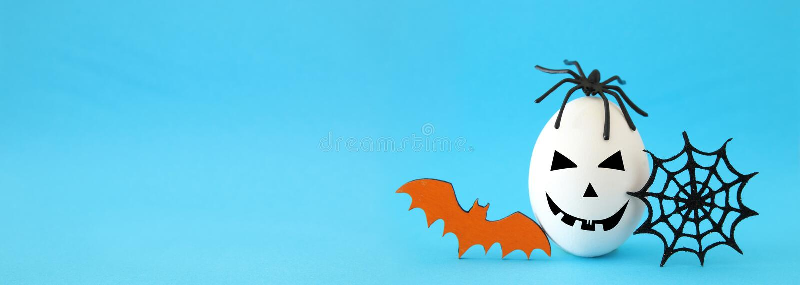 concetto minimo e divertente di festa di Halloween Uovo bianco con il fronte, la ragnatela, il pipistrello ed il ragno svegli spa fotografie stock libere da diritti