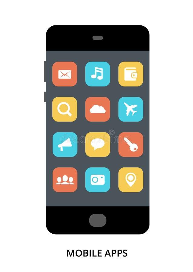 Concetto mobile dei Apps sullo smartphone nero con differenti elementi dell'interfaccia utente royalty illustrazione gratis