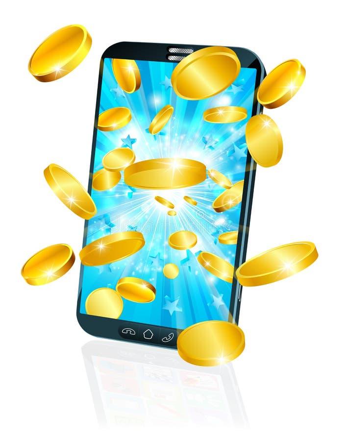 Concetto mobile dei soldi della moneta di volo del telefono cellulare illustrazione vettoriale