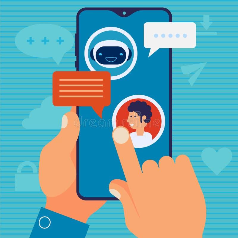 Concetto mobile del app di Chatbot Illustrazione piana d'avanguardia di vettore di progettazione illustrazione di stock