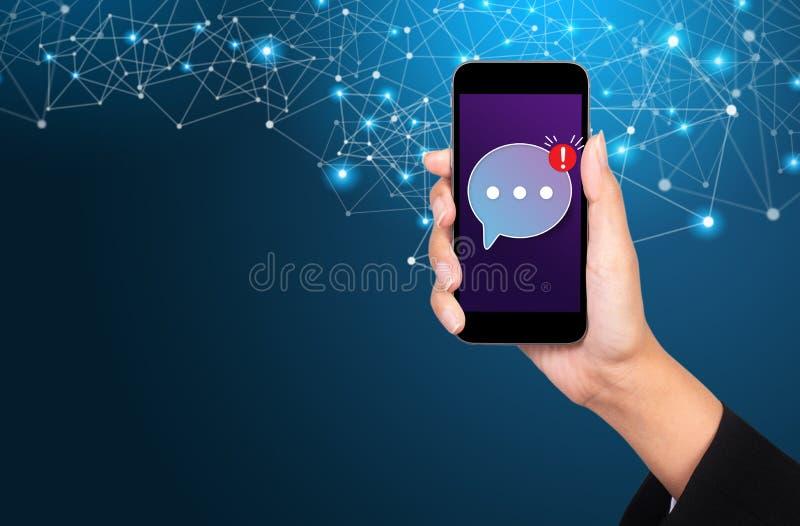 Concetto mobile del messaggero, messaggero mobile app per il messa mandante un sms immagini stock
