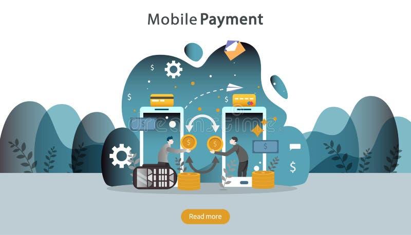 concetto mobile del trasferimento di denaro o di pagamento Illustrazione online di compera del mercato di commercio elettronico c illustrazione di stock