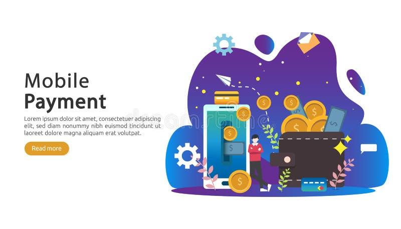 concetto mobile del trasferimento di denaro o di pagamento Illustrazione online di compera del mercato di commercio elettronico c illustrazione vettoriale