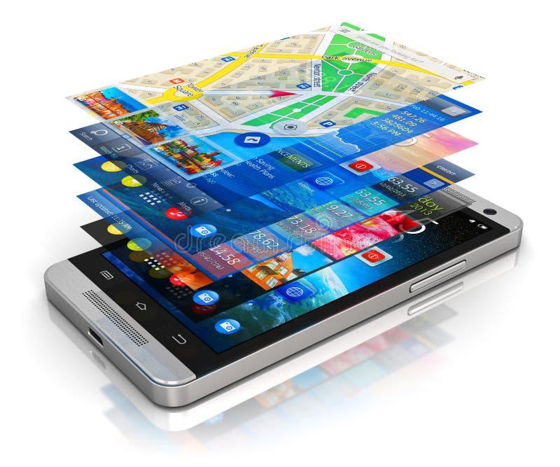 Concetto mobile di applicazioni illustrazione vettoriale
