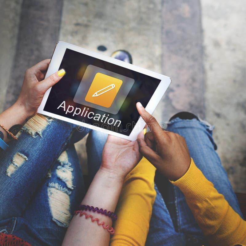 Concetto mobile di creatività dell'illustratore di progettazione di applicazione fotografia stock