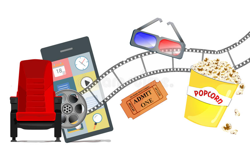 Concetto mobile di film e del video immagine stock libera da diritti