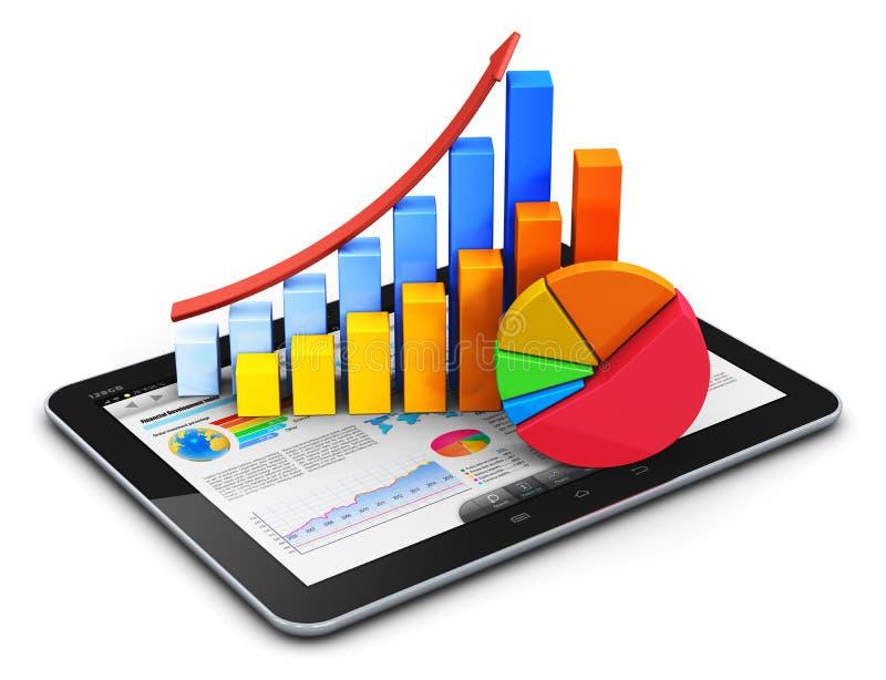 Concetto mobile di finanza, di contabilità e di statistiche illustrazione di stock