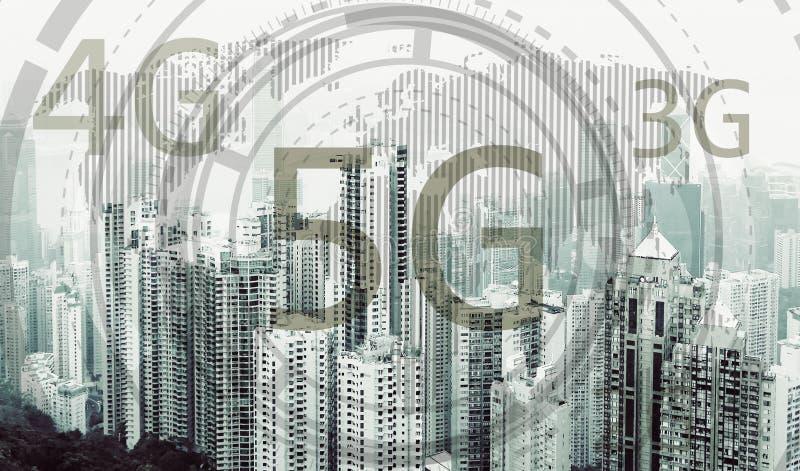 concetto mobile di Internet della rete wireless 5G fotografie stock