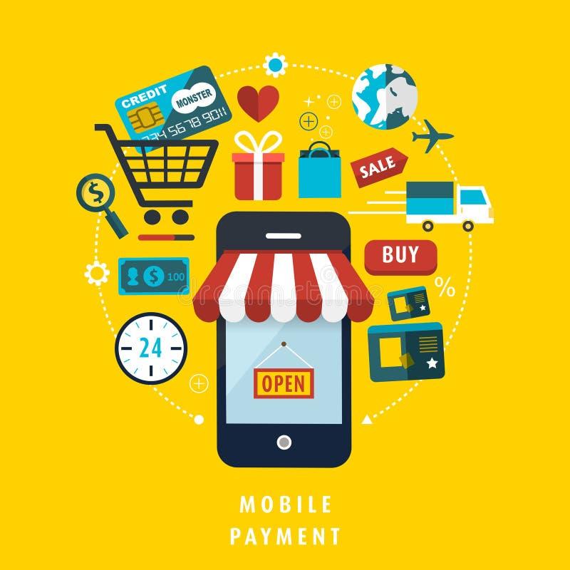 Concetto mobile di pagamento con gli elementi relativi illustrazione di stock