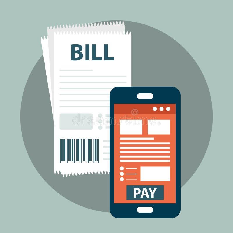 Concetto mobile di pagamento Fogli paga sulla linea Facendo uso di un telefono cellulare da contare e comperare sulla linea Vetto royalty illustrazione gratis