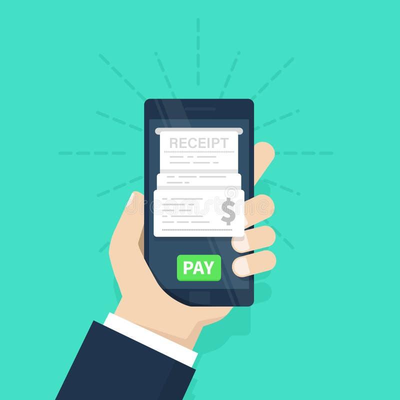Concetto mobile di pagamento ricevuta Fogli paga sulla linea Attività bancarie del Internet Facendo uso di un telefono cellulare  illustrazione vettoriale