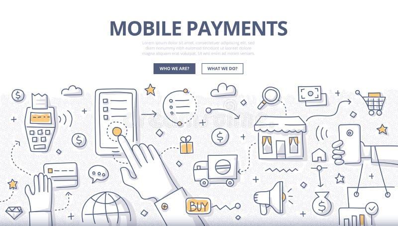 Concetto mobile di scarabocchio di pagamenti