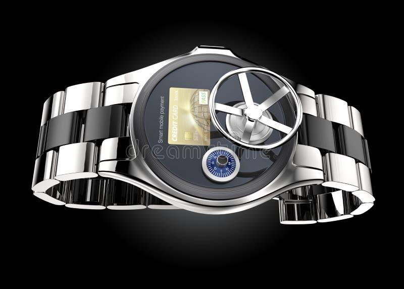 Concetto mobile di sicurezza di pagamento per l'orologio astuto illustrazione di stock