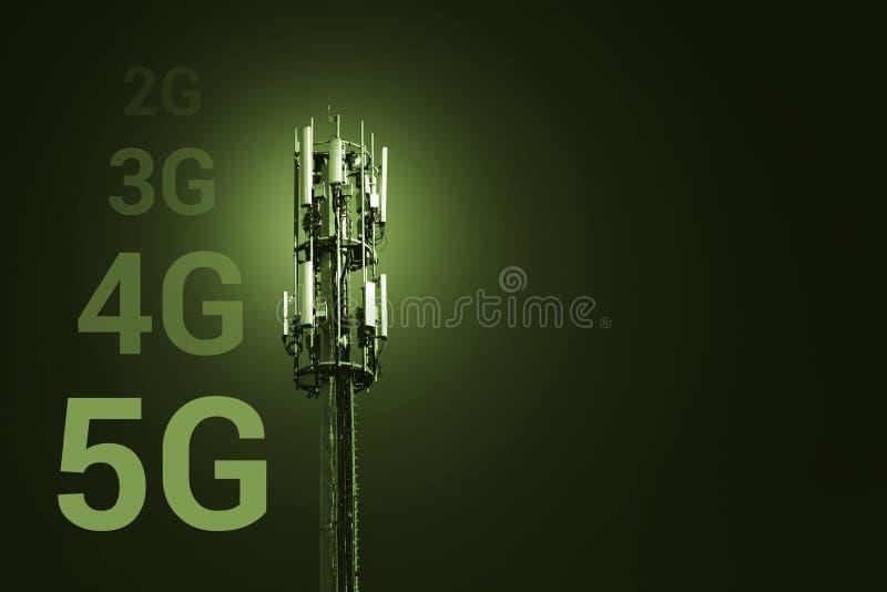 concetto mobile di tecnologia di comunicazione senza fili del collegamento a Internet di velocità veloce 5G - immagine con lo sp fotografie stock libere da diritti