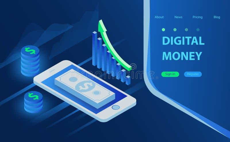 Concetto mobile di vettore di pagamenti Rilasci una ricevuta dei dati di statistiche, notifica sulla transazione finanziaria, ban illustrazione vettoriale