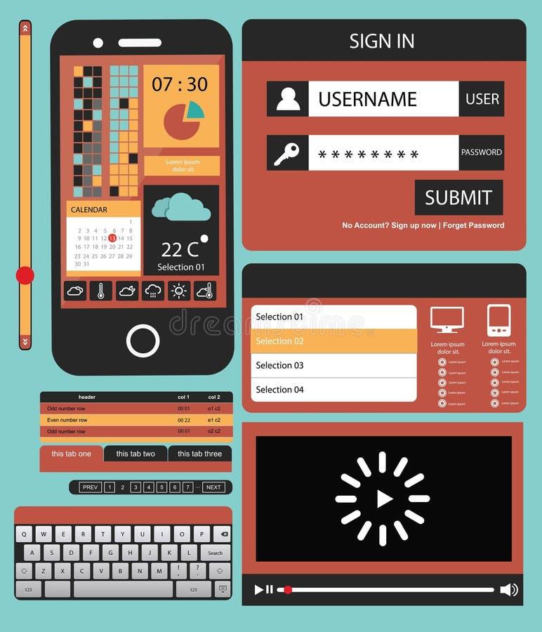 Concetto mobile di web UI per il cellulare illustrazione di stock