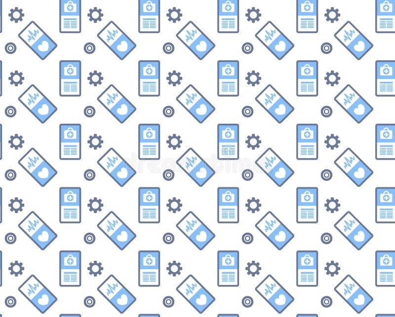Concetto mobile online di simbolo della medicina di logo di servizio medico di sanità dell'icona dello schermo dello smartphone d illustrazione vettoriale