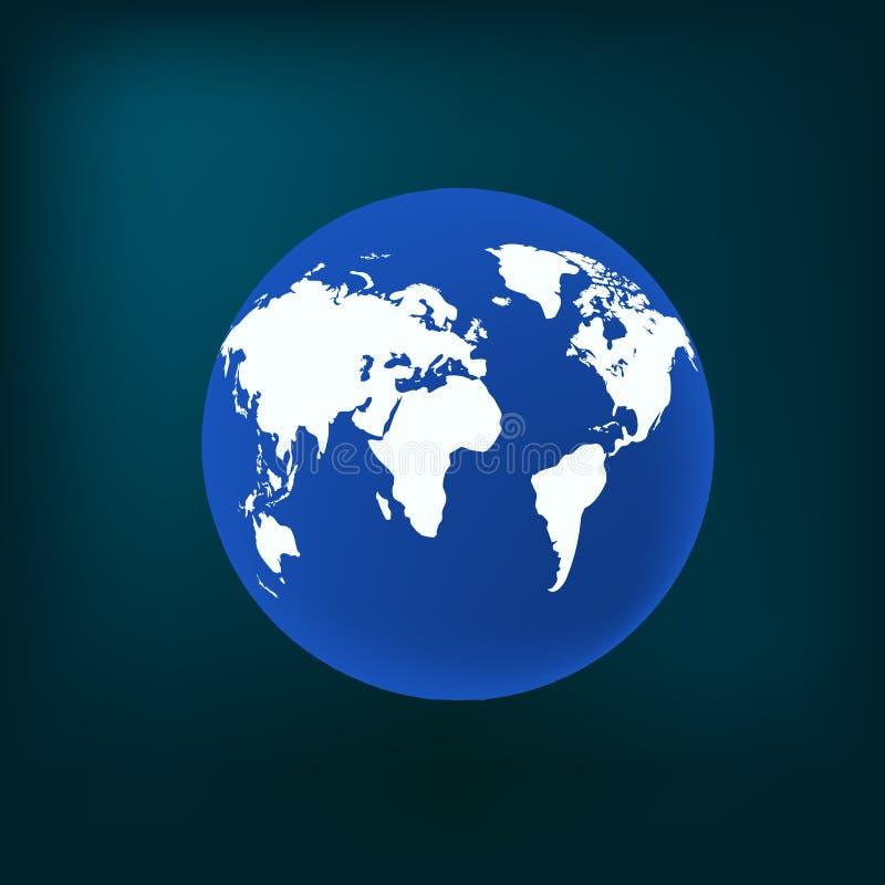 Concetto moderno della mappa di mondo 3d isolato su fondo bianco Pianeta del mondo, illustrazione della sfera della terra di vett illustrazione vettoriale