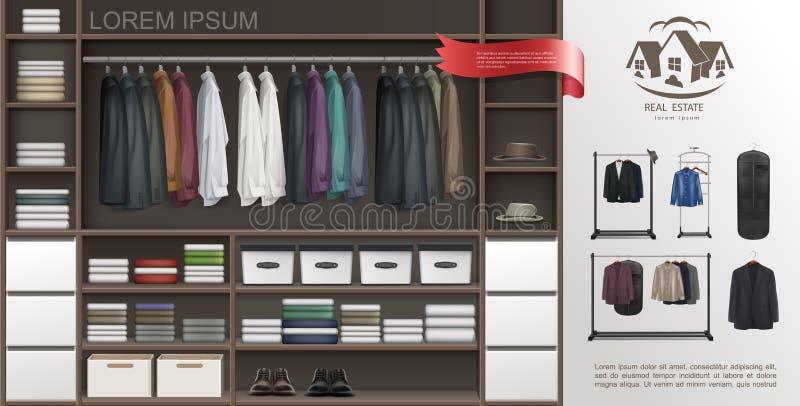 Concetto moderno della stanza maschio realistica del guardaroba illustrazione di stock
