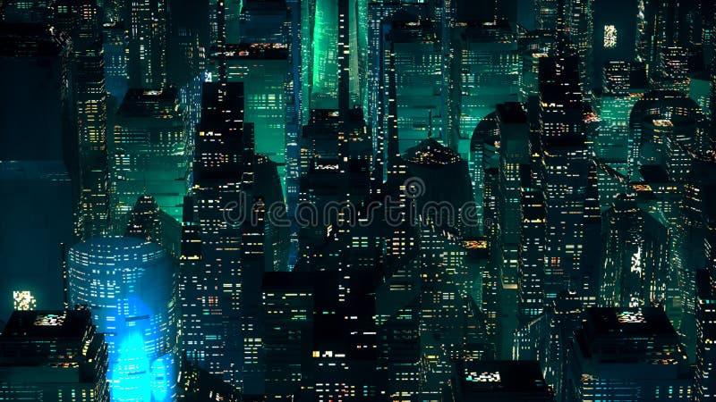 Concetto moderno di tecnologia dei grattacieli al neon verdi della città illustrazione vettoriale