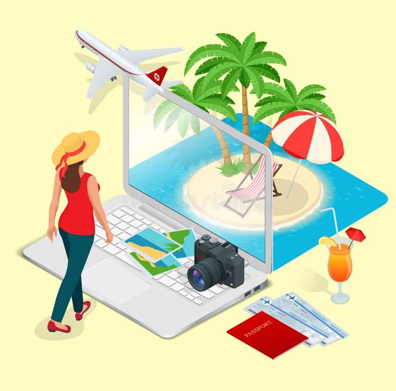 Concetto moderno di vettore di viaggio, prenotando online, progettante le vacanze estive Prenotazione di hotel della località di  illustrazione vettoriale