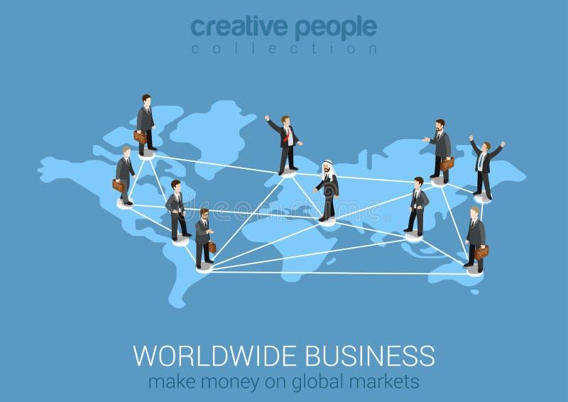 Concetto moderno isometrico piano 3d della rete mondiale di affari illustrazione di stock