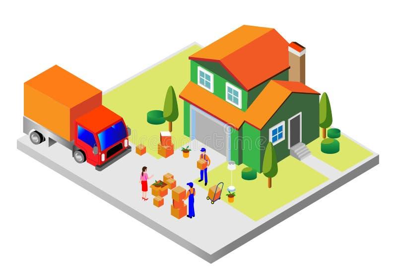 Concetto moderno minimo per le società impegnate in trasporto delle merci per la popolazione Illustrazione isometrica di vettore royalty illustrazione gratis