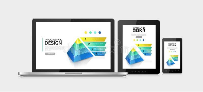 Concetto moderno realistico degli elementi di Infographic illustrazione di stock