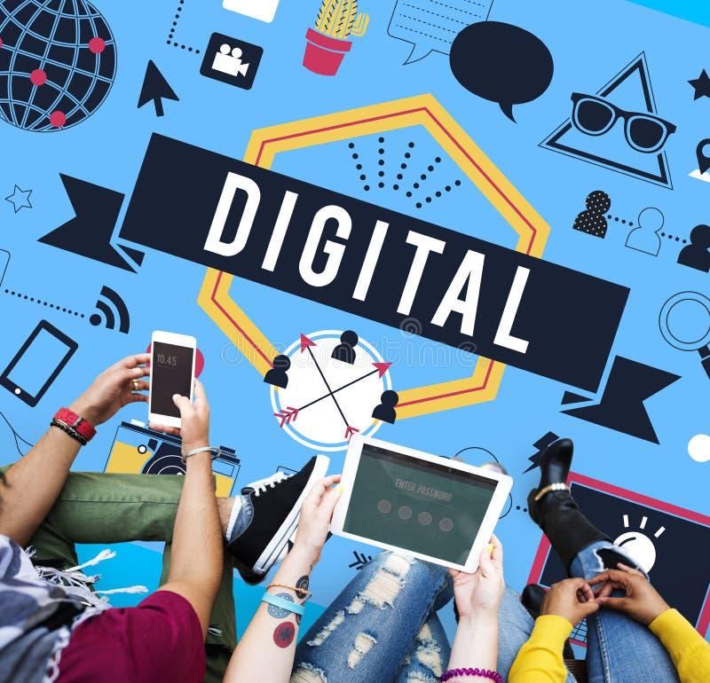 Concetto mondiale di tecnologia di mezzi d'informazione di Internet di Digital fotografia stock libera da diritti