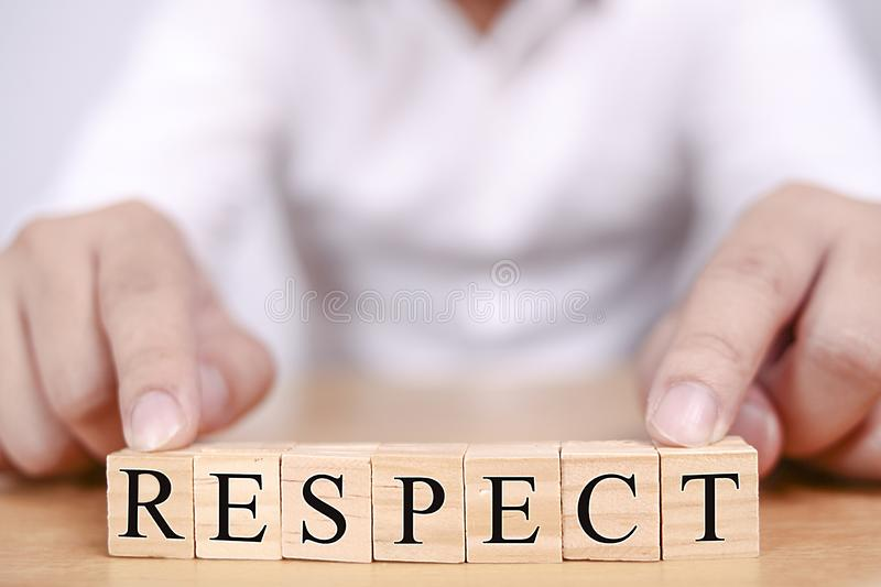 Concetto motivazionale di citazioni di parole di rispetto immagini stock libere da diritti