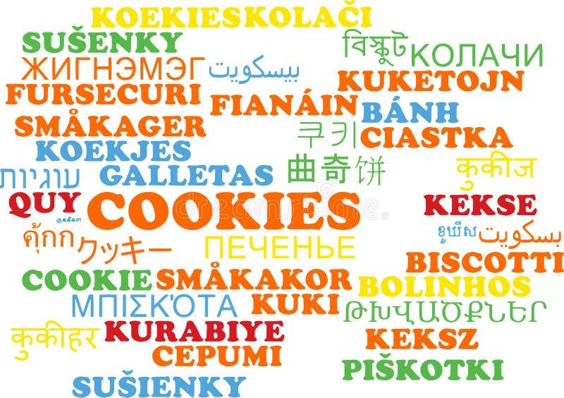 Concetto multilingue del fondo del wordcloud dei biscotti illustrazione vettoriale