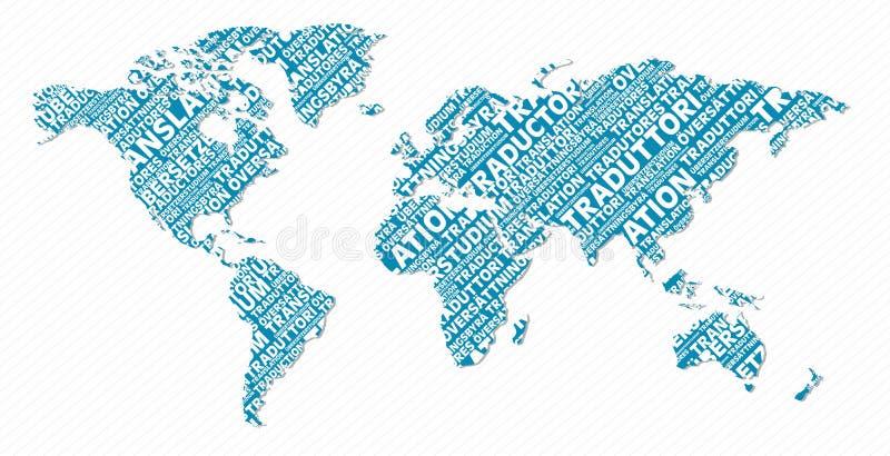 Concetto multilingue della mappa di mondo di traduzione royalty illustrazione gratis