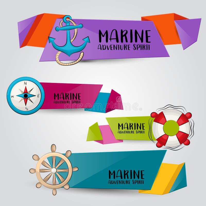 Concetto nautico marino di viaggio Insieme orizzontale del modello dell'insegna Progettazione disegnata a mano moderna di scarabo illustrazione vettoriale
