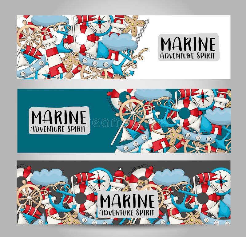 Concetto nautico marino di viaggio Insieme orizzontale del modello dell'insegna Progettazione disegnata a mano moderna di scarabo illustrazione di stock