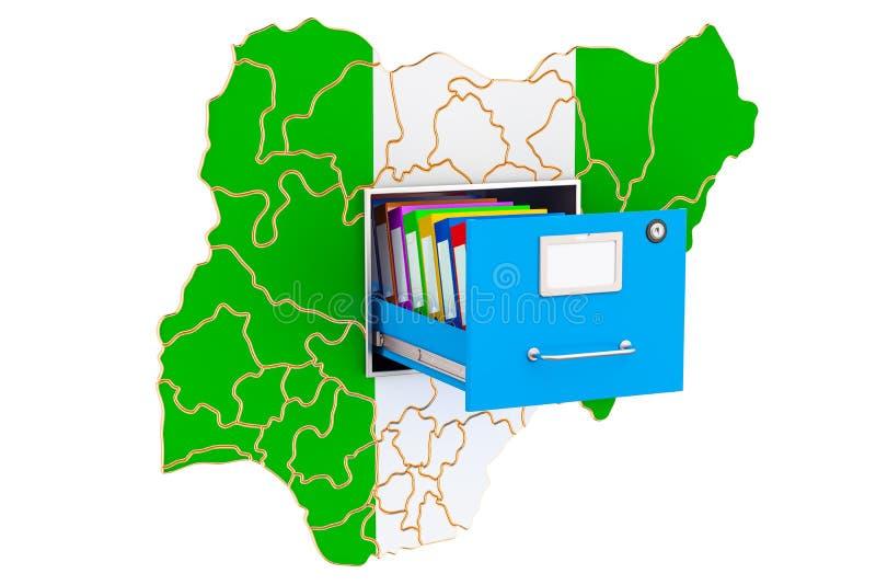 Concetto nazionale nigeriano della base di dati, rappresentazione 3D illustrazione di stock