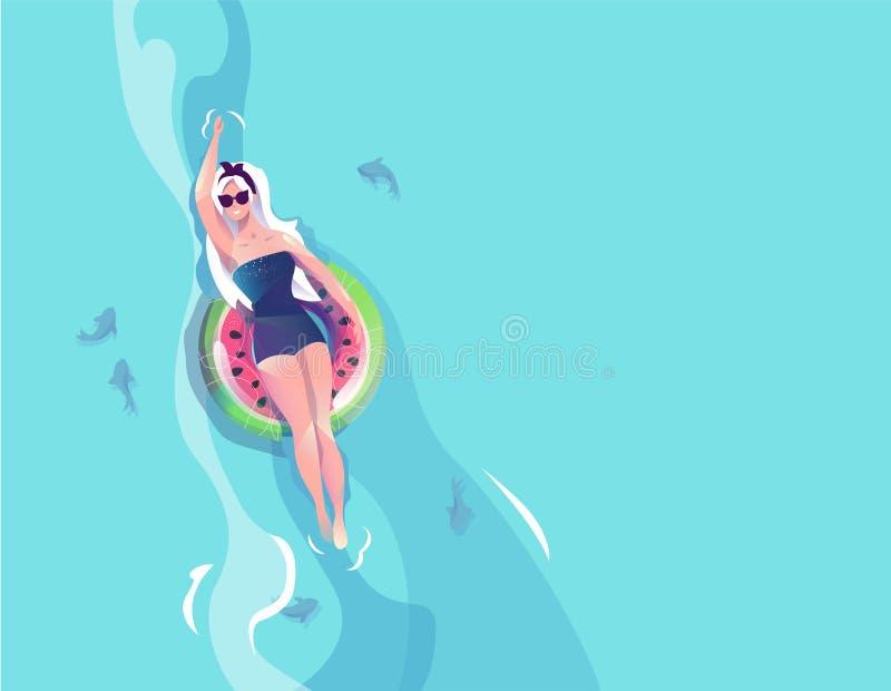 Concetto nello stile piano con la donna che galleggia con il cerchio immagini stock