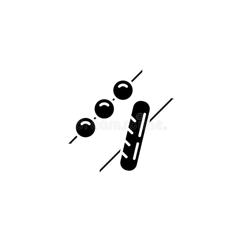 Concetto nero dell'icona del barbecue Arrostisca col barbecue il simbolo piano di vettore, il segno, illustrazione illustrazione vettoriale