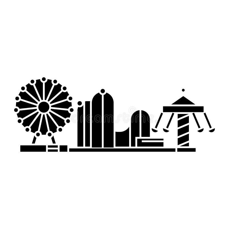 Concetto nero dell'icona del parco di divertimenti Segno di vettore del parco di divertimenti, simbolo, illustrazione illustrazione vettoriale