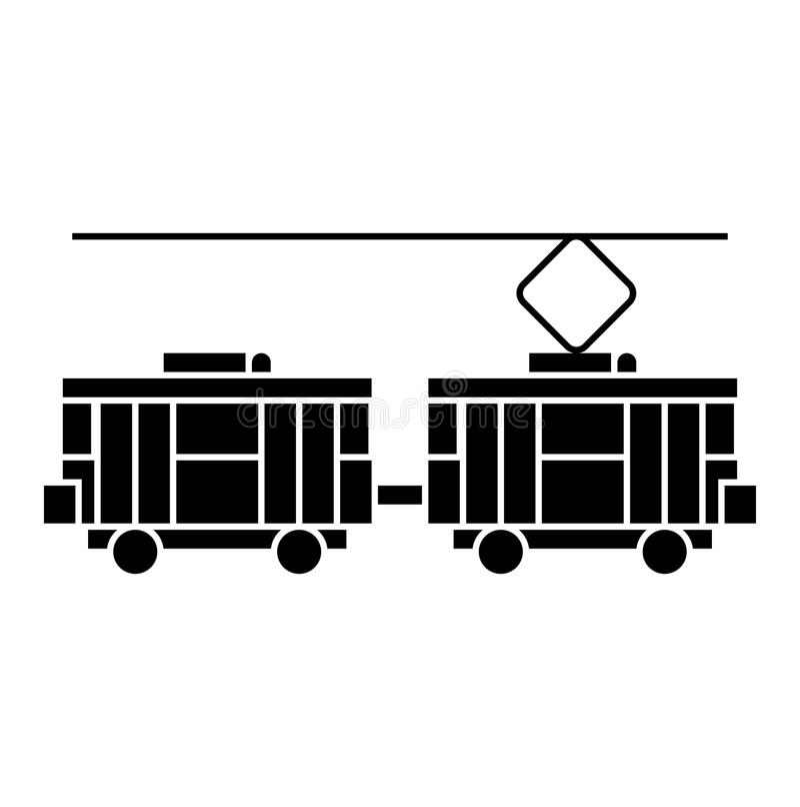 Concetto nero dell'icona del tram Segno di vettore del tram, simbolo, illustrazione royalty illustrazione gratis