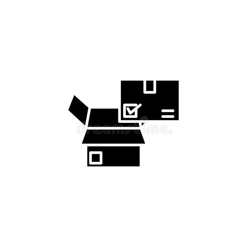 Concetto nero dell'icona di controllo di qualità Simbolo piano di vettore di controllo di qualità, segno, illustrazione illustrazione vettoriale